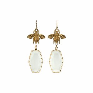 Clear Drop Bee Earrings