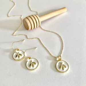 Gold & White Enamel Bee Necklace