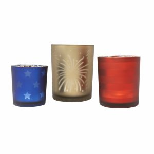 Stars & Stripes Frosted Tealight Candleholders